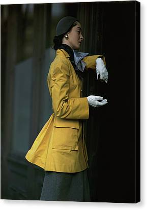 Cloche Hat Canvas Print - Woman Wearing A Yellow Coat by Frances McLaughlin-Gill