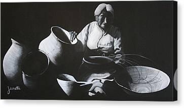 Woman Weaving A Basket Canvas Print