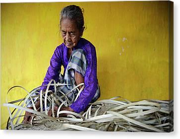 Woman Weaving Canvas Print