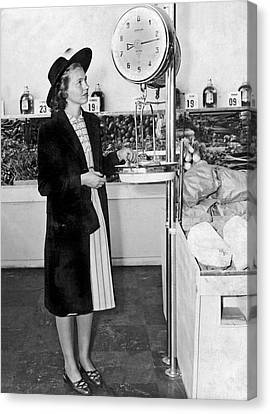 Grocery Store Canvas Print - Woman Weighing Vegetables by Underwood Archives