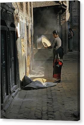 Woman Winnowing Canvas Print