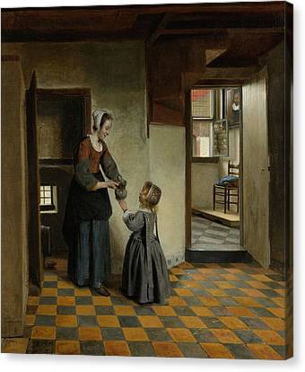 Woman With A Child In A Pantry Canvas Print