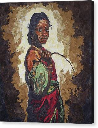 Woman With A Coconut Canvas Print by Mihira Karra