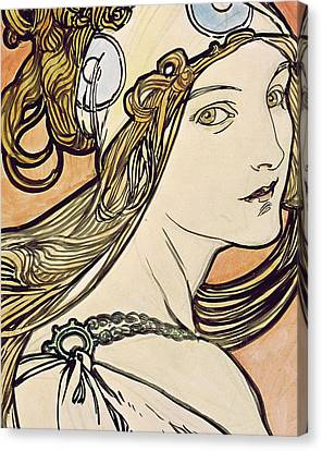 Woman With A Headscarf Canvas Print by Alphonse Marie Mucha