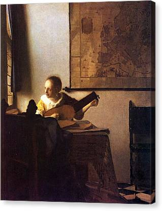 Woman With A Lute Canvas Print by Johannes Vermeer