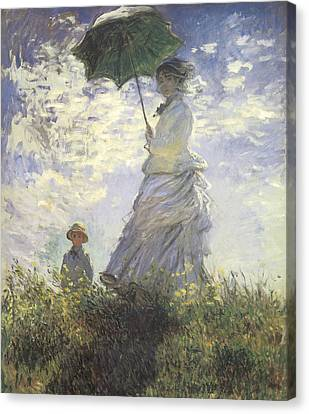 Woman With A Parasol Canvas Print by Claude Monet