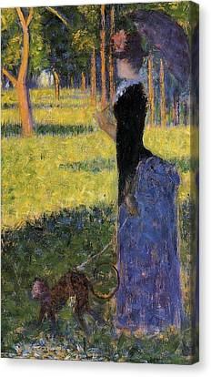 Woman With A Parasol Canvas Print by Georges Seurat