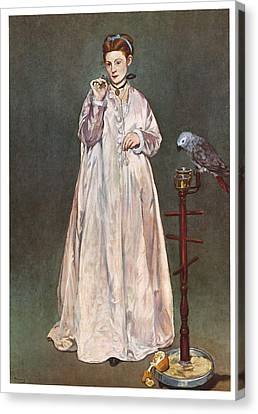 Woman With A Parrot Canvas Print by Edouard Manet