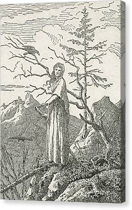 Woman With A Raven On The Edge Of A Precipice Canvas Print by Caspar David Friedrich