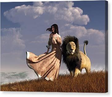 Woman With African Lion Canvas Print by Daniel Eskridge