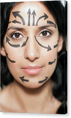 Woman With Arrows On Face Canvas Print by Ian Hooton
