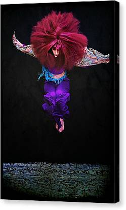 Woman With Big Hair Jumping Canvas Print by Cynthia Saxon Cox