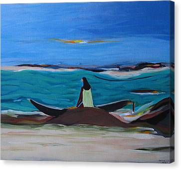 Woman With Boat Canvas Print by Fatima Neumann