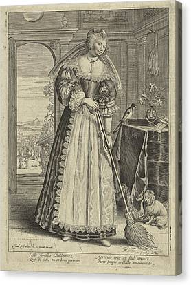 Woman With Broom In An Interior, Theodor Matham Canvas Print by Theodor Matham And C. David