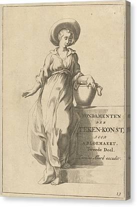 Woman With Bucket The Samaritan Woman Canvas Print by Frederick Bloemaert And Abraham Bloemaert