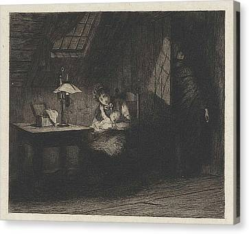 Woman With Child By Lamplight, Willem Steelink II Canvas Print by Willem Steelink Ii