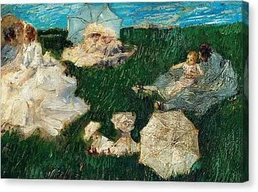 Woman With Children In Garden Canvas Print