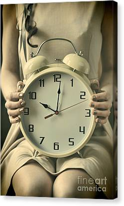 Woman With Clock Canvas Print
