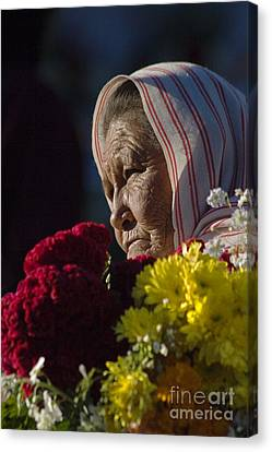 Woman With Flowers - Day Of The Dead Mexico Canvas Print by Craig Lovell