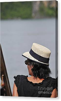 Woman With Hat Looking Away Canvas Print by Sami Sarkis