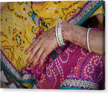 Woman With Henna Tattoo On Her Hand Canvas Print by Panoramic Images