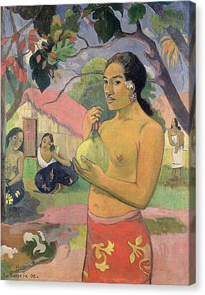 Woman With Mango Canvas Print