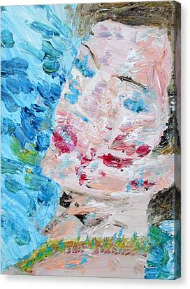 Woman With Necklace - Oil Portrait Canvas Print by Fabrizio Cassetta