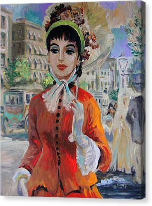 Woman With Parasol In Paris Canvas Print by Karon Melillo DeVega
