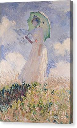 Breeze Canvas Print - Woman With Parasol Turned To The Left by Claude Monet