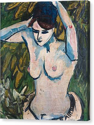 Woman With Raised Arms Canvas Print by Ernst Ludwig Kirchner