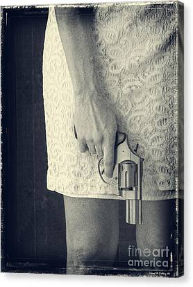 Woman With Revolver 60 X 45 Custom Canvas Print by Edward Fielding