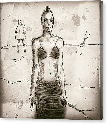 Woman With Stick Canvas Print by H James Hoff