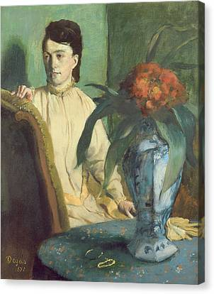 Woman With The Oriental Vase Canvas Print by Edgar Degas