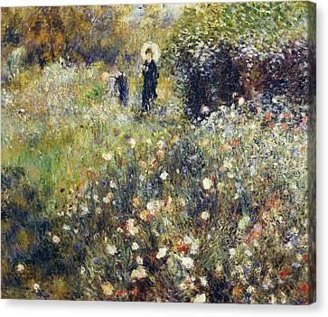 Woman With Umbrella In Garden Canvas Print by Pierre-Auguste Renoir