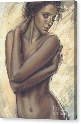 Woman With White Drape Crop Canvas Print by Zorina Baldescu
