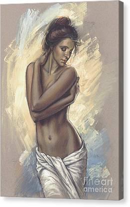 Woman With White Drape Canvas Print by Zorina Baldescu