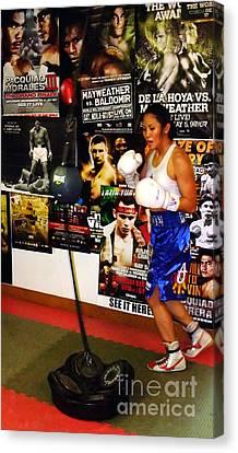 Woman's Boxing Champion Filipino American Ana Julaton Working Out Canvas Print by Jim Fitzpatrick