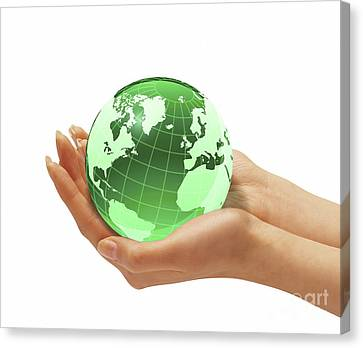 Womans Hands Holding An Earth Globe Canvas Print by Leonello Calvetti