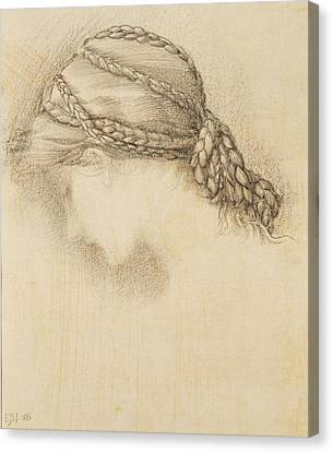 Braids Canvas Print - Womans Head, Detail From A Sketchbook by Sir Edward Coley Burne-Jones