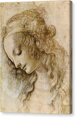 Woman's Head Canvas Print by Leonardo da Vinci
