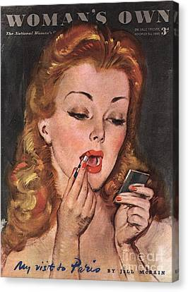 WomanÕs Own 1945 1940s Uk Make-up Canvas Print by The Advertising Archives