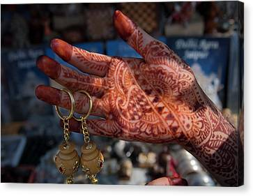 Woman's Palm Decorated In Henna Canvas Print by Keren Su