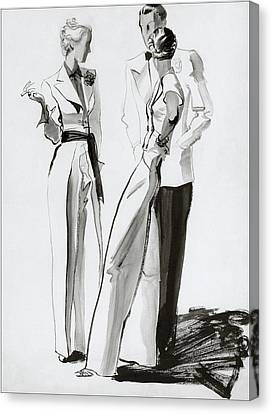 Women And A Man In Suits Canvas Print by Rene Bouet-Willaumez