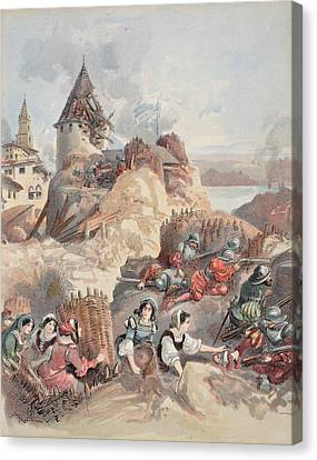 Women At The Siege Of Marseille Canvas Print by Albert Robida