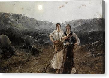 Women By Moonlight Canvas Print by Agustin Salinas y Teruel