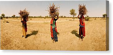 Women Carrying Firewood On Their Heads Canvas Print by Panoramic Images