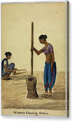 Women Cleaning Grain Canvas Print