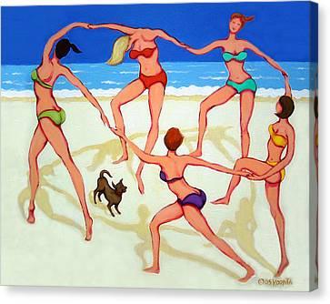 Women Dancing On Beach - Happy Dance Canvas Print by Rebecca Korpita