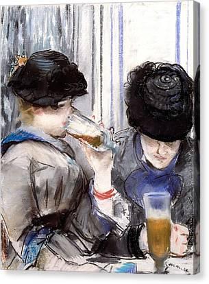 Women Drinking Beer, 1878 Canvas Print
