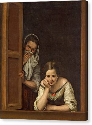 Women From Galicia At The Window Canvas Print by Bartolome Esteban Murillo
